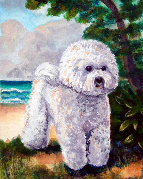 Pup Painting - Bichon Frise Beach Babe by Lyn Cook