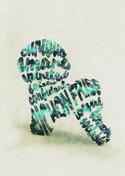 Painting - Bichon Frise Watercolor Painting / Typographic Art by Inspirowl Design