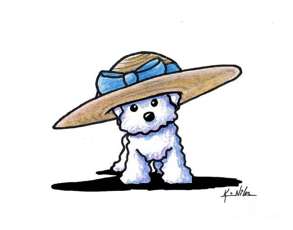 Wall Art - Drawing - Bichon In Hat by Kim Niles