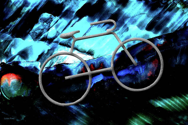 Mixed Media - Bicycle Abstract Art Blue by Lesa Fine