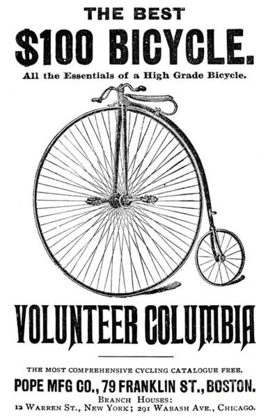 Photograph - Bicycle Advertisement, 1888 by Granger