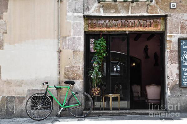 Photograph - Bicycle And Reflections At L'antiquari Bar Barcelona by RicardMN Photography