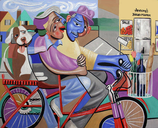 Wall Art - Painting - Bicycle Built For Three by Anthony Falbo