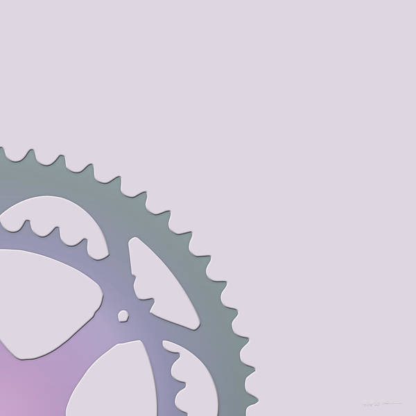 Digital Art - Bicycle Chain Ring On Lavender Water - 2 Of 4 by Serge Averbukh