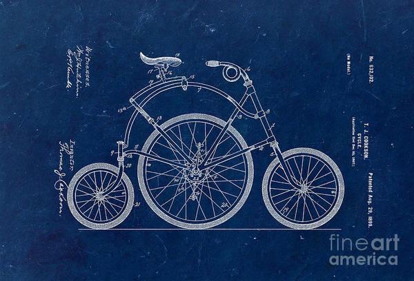 Wall Art - Photograph - Bicycle From 1899 - Blue by Delphimages Photo Creations