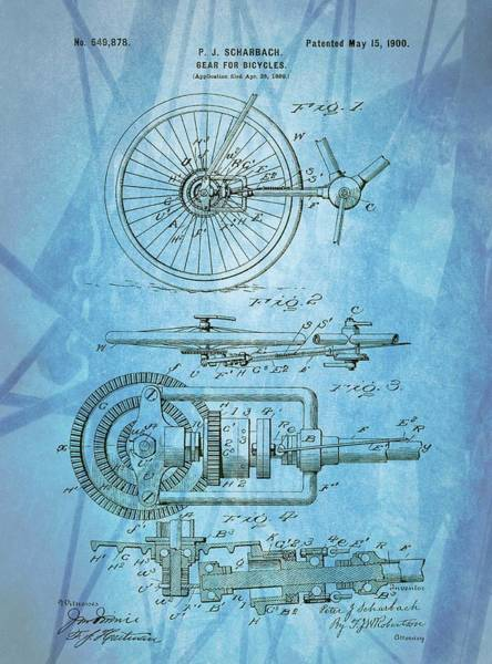 Drawing - Bicycle Gear Patent Illustration by Dan Sproul