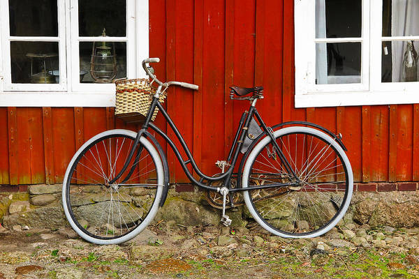 Wall Art - Photograph - Bicycle In Front Of Red House In Sweden by Greg Matchick