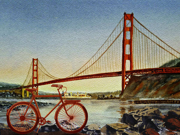 Painting - Bicycle In San Francisco by Irina Sztukowski