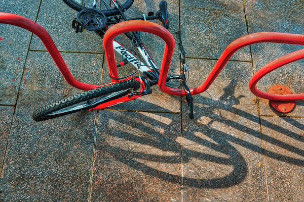 Photograph - Bicycle In Stand Resting With Shadows by Gary Slawsky