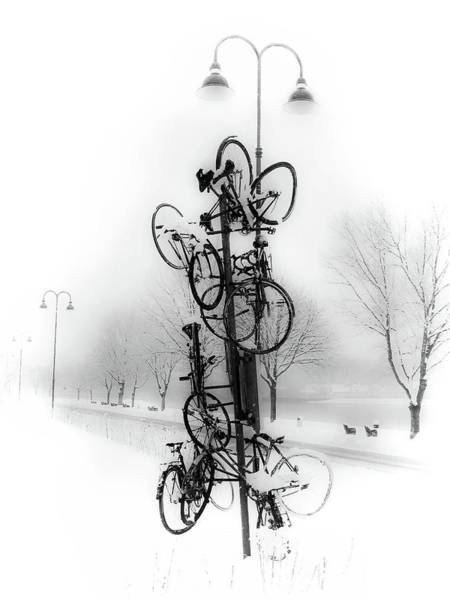 Donau Photograph - Bicycle Lamppost In Winter by Menega Sabidussi