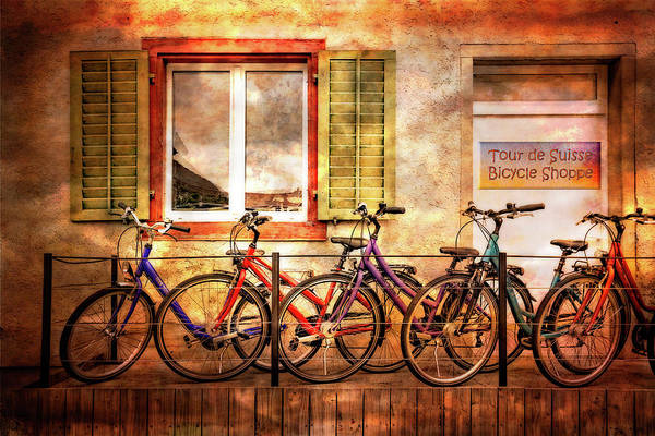 Photograph - Bicycle Line-up by Debra and Dave Vanderlaan