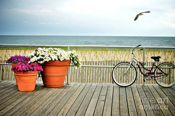 Travel Photograph - Bicycle On The Ocean City New Jersey Boardwalk. by Melissa Ross