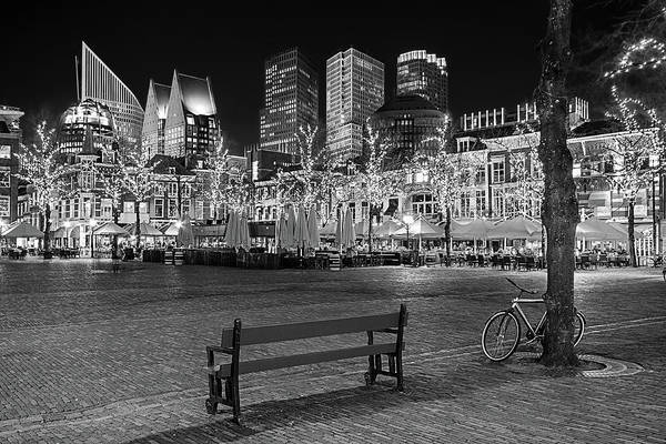 Photograph - Bicycle On The Plein At Night - The Hague  by Barry O Carroll