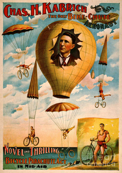 Wall Art - Photograph - Bicycle Parachute Act 1896 by Padre Art
