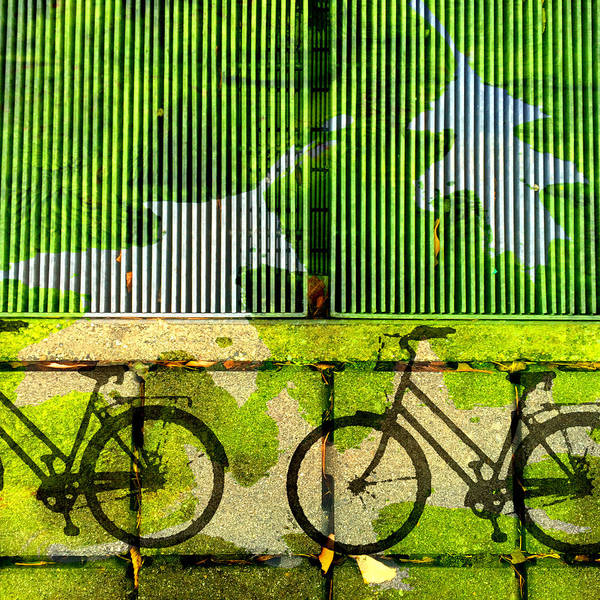 Wall Art - Mixed Media - Bicycle Parking by Nancy Merkle