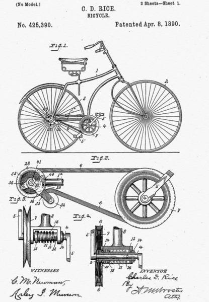 Vintage Patent Wall Art - Digital Art - Bicycle Patent 1890 by Bill Cannon