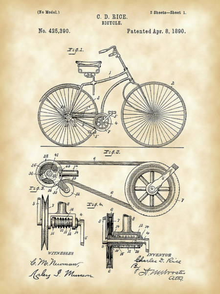 Wall Art - Digital Art - Bicycle Patent 1890 - Vintage by Stephen Younts