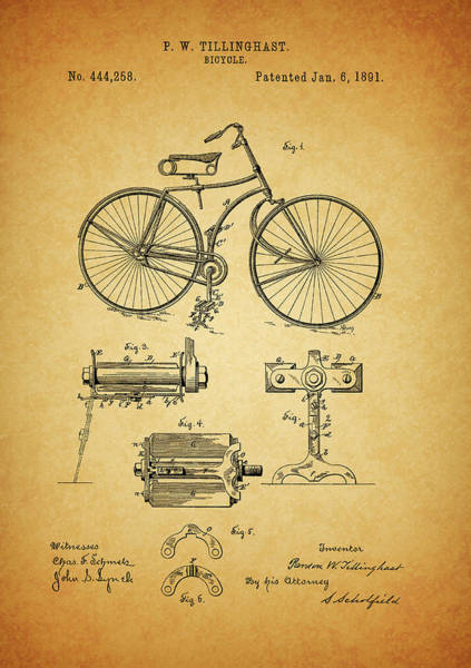 Patent Mixed Media - Bicycle Patent by Dan Sproul