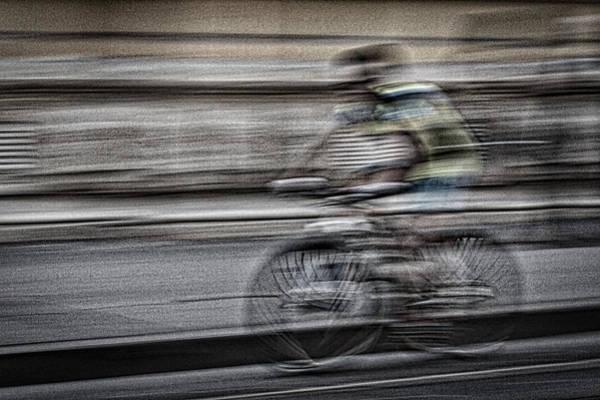 Bicycle Rider Abstract Art Print