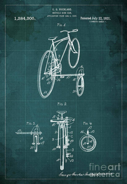 Invention Painting - Bicycle Side Car Patent 1921 by Drawspots Illustrations