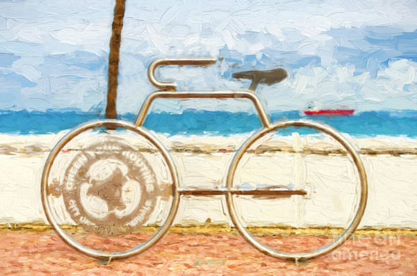 Photograph - Seaside Bicycle Stand by Les Palenik