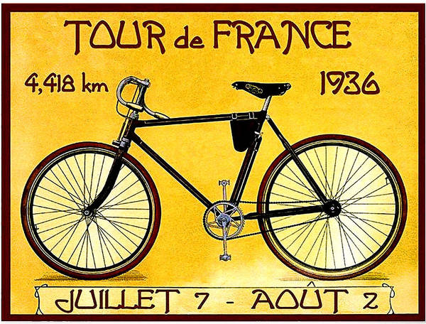 Wall Art - Painting - Bicycle, Tour De France, Vintage Poster by Long Shot