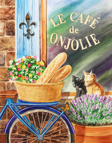 Painting - Bicycle With Basket At The Cafe Window by Irina Sztukowski