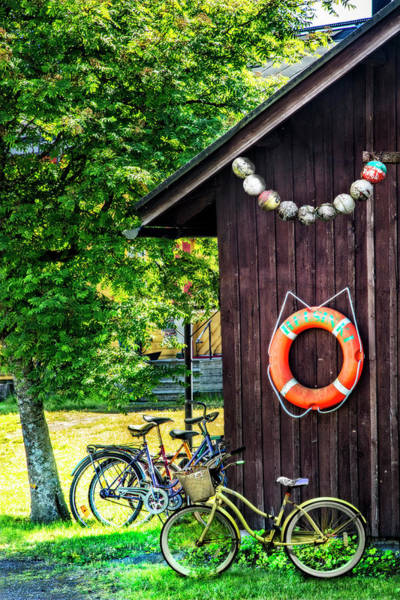Photograph - Bicycles At The Barn by Debra and Dave Vanderlaan