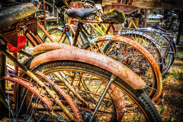 Rusty Chain Wall Art - Photograph - Bicycles by Debra and Dave Vanderlaan