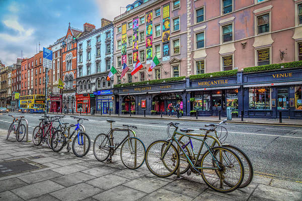 Photograph - Bicycles On The Streets Of Dublin In Hdr Detail by Debra and Dave Vanderlaan