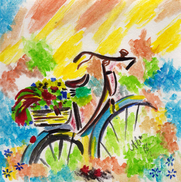 Wall Art - Painting - Bicyle And Flowers by Bobby Dar