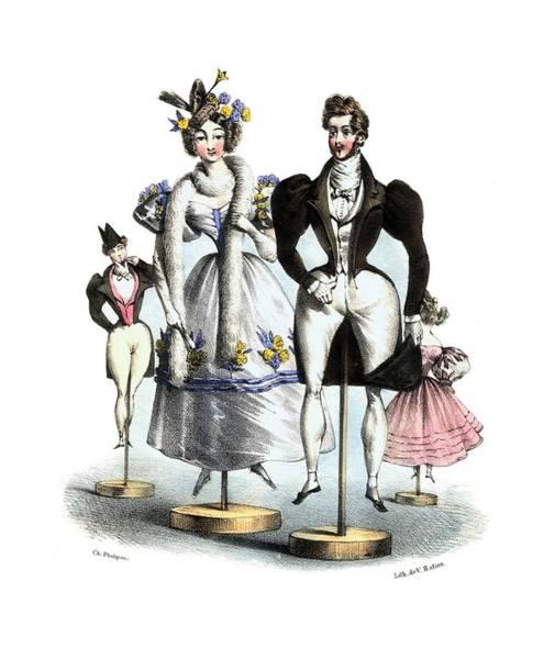 Fashion Plate Digital Art - Biedermeier French Fashion -les Fashionables by Village Antiques