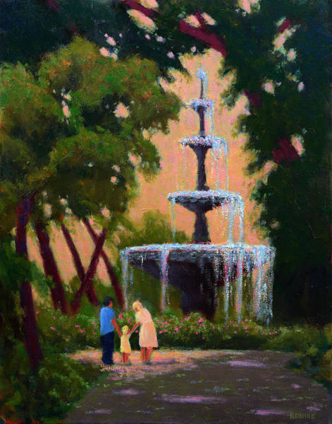 Painting - Bienville Square Fountain by Vernon Reinike