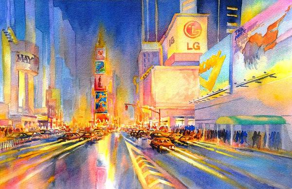 Time Square Painting - Big Apple Evening, No. 2 by Virgil Carter