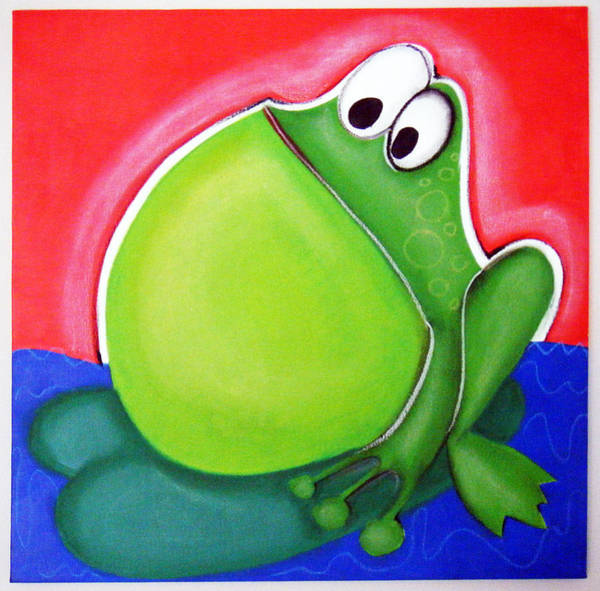 Morea Wall Art - Painting - bIG bELLY fROG by Mara Morea