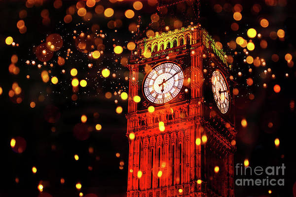 Digital Art - Big Ben Aglow by Digital Art Cafe
