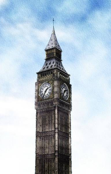 Clock Tower Painting - Big Ben, Parliament, London by Mary Bassett