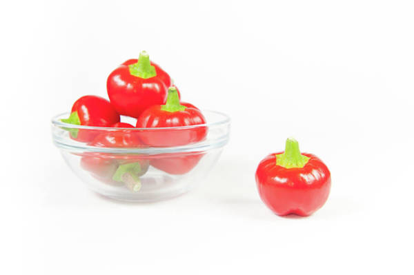 Photograph - Big Bomb Red Chillies In A Bowl Iv by Helen Northcott