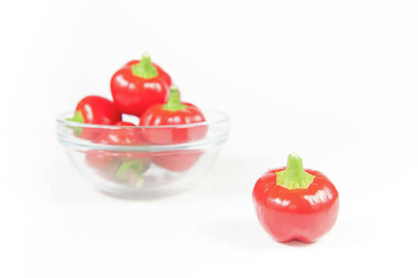 Photograph - Big Bomb Red Chillies In A Bowl V by Helen Northcott