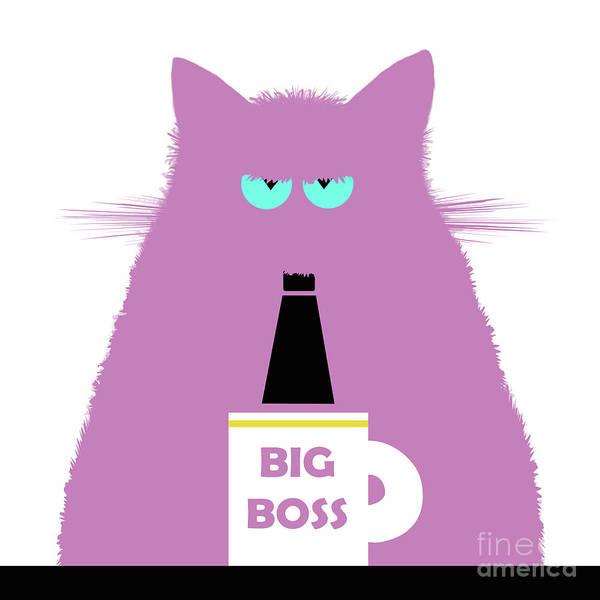 New Trend Digital Art - Big Boss Lilac Cat by Zaira Dzhaubaeva
