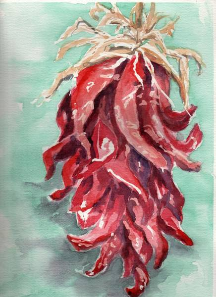 Husk Painting - Big Bunch Of Chilies by Barbara Kelley