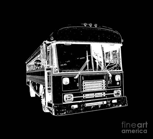 Vehicle Drawing - Big Bus Tee by Edward Fielding
