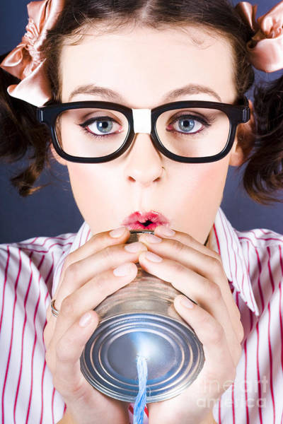 Public Speaker Photograph - Big Business Kid Making Phone Call With Tin Cans by Jorgo Photography - Wall Art Gallery