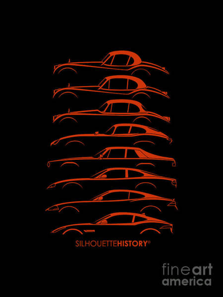 Wall Art - Digital Art - Big Cat Coupe Silhouettehistory by Gabor Vida