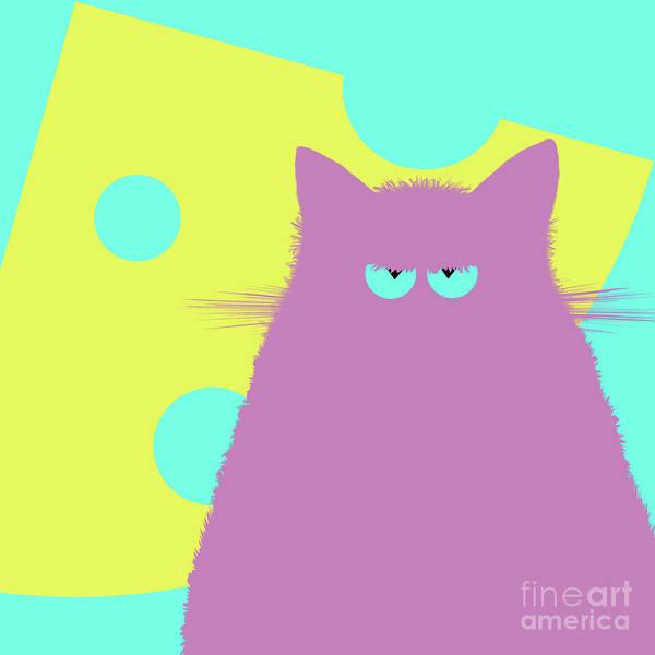 New Trend Digital Art - Big Cheese Lilac Cat by Zaira Dzhaubaeva