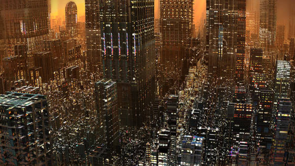 Digital Art - Big City Sunset by Hal Tenny