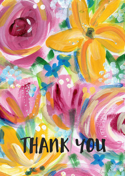 Card Painting - Big Colorful Flowers Thank You Card- Art By Linda Woods by Linda Woods