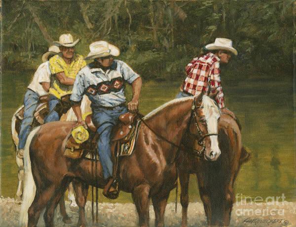 Wall Art - Painting - Big Creek - 4 Riders by Don  Langeneckert