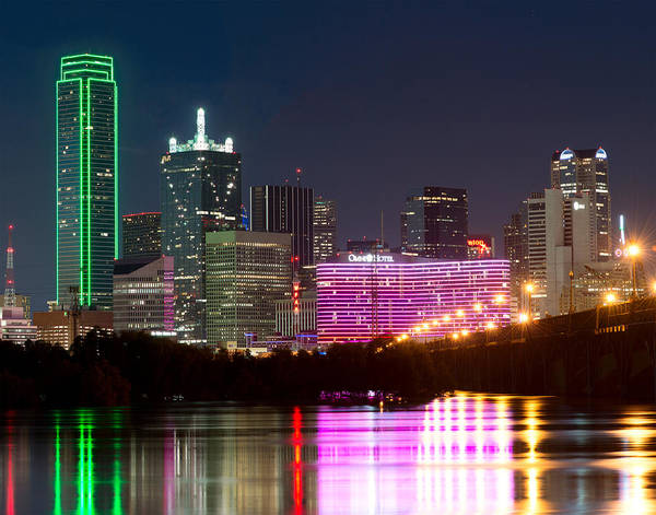 Photograph - Dallas Skyline Colorful Reflection V5 by Rospotte Photography