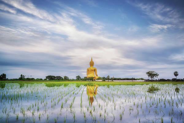 Giant Buddha Photograph - Big Gold Buddha Statue Wat Muang by Anek Suwannaphoom